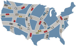Map of interstate driving patterns across America