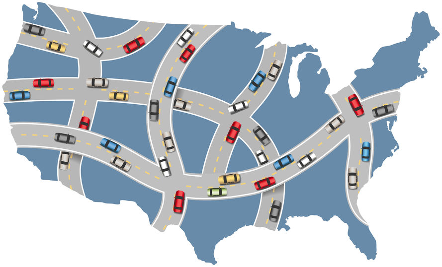 Map of interstate driving patterns across America through Tucson, AZ after DUI license suspension